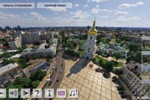 Сферическая 3D панорама главных соборов Киева с высоты