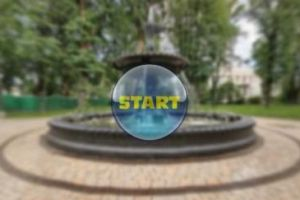 Сферическая панорама фонтана в киевском Мариинском парке