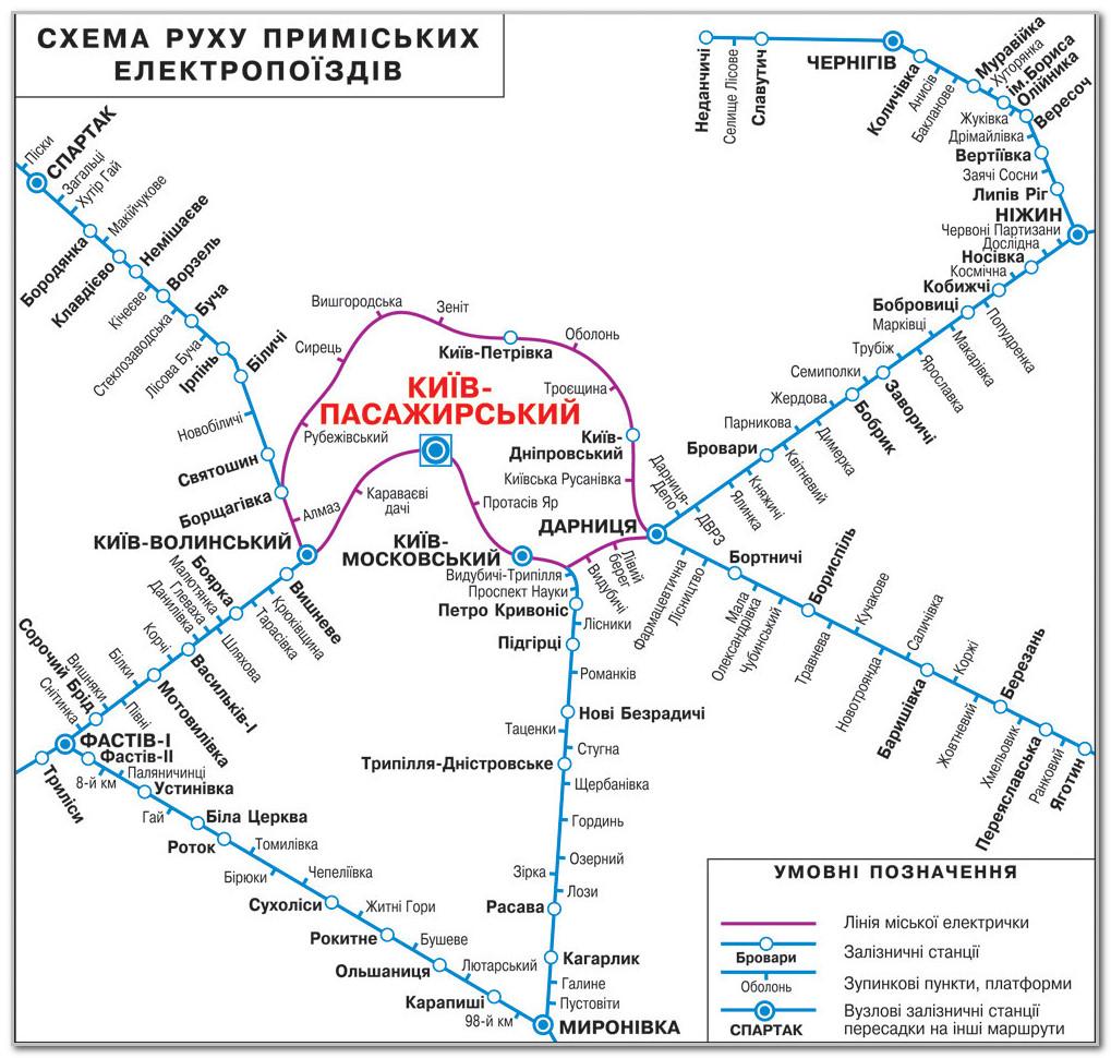 Схема движения пригородных поездов и карта городской электрички Киева на карте