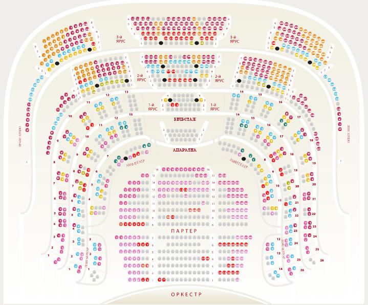 План - схема зала и зрительских мест Национальный академический театр оперы и балета Украины имени Т. Шевченко