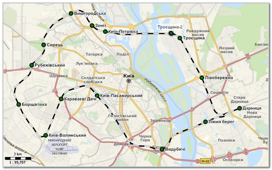 План схема городской электрички