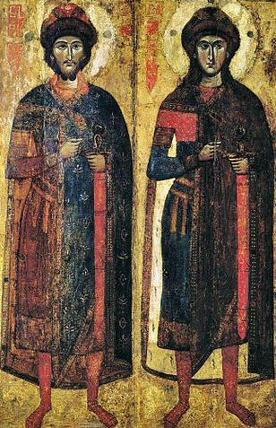 древнейшая икона домонгольского периода Борис и Глеб