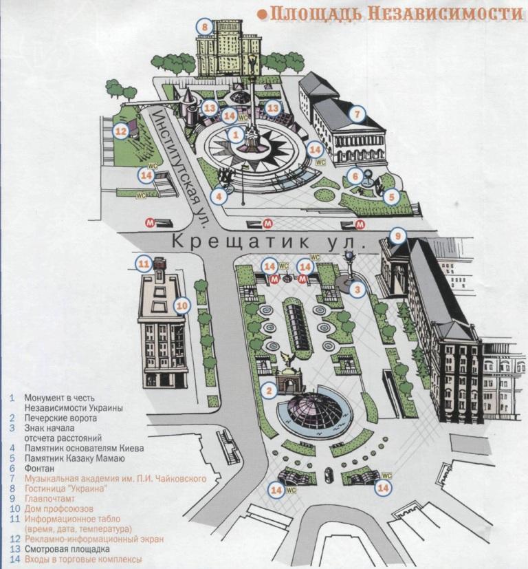План  достопримечательностей на Площади Независимости в Киеве