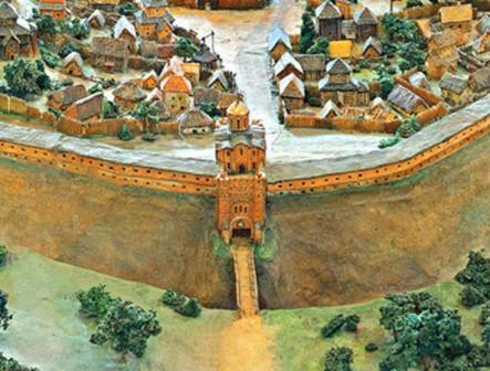 золоты ворота на макете древнего Киева 1