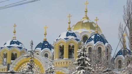 Купола Владимирского собора в киеве зимой