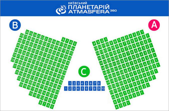 Схема мест в зале Киевского планетария Atmasfera 360