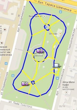 План схема парка Т.Г. Шевченко в Киеве