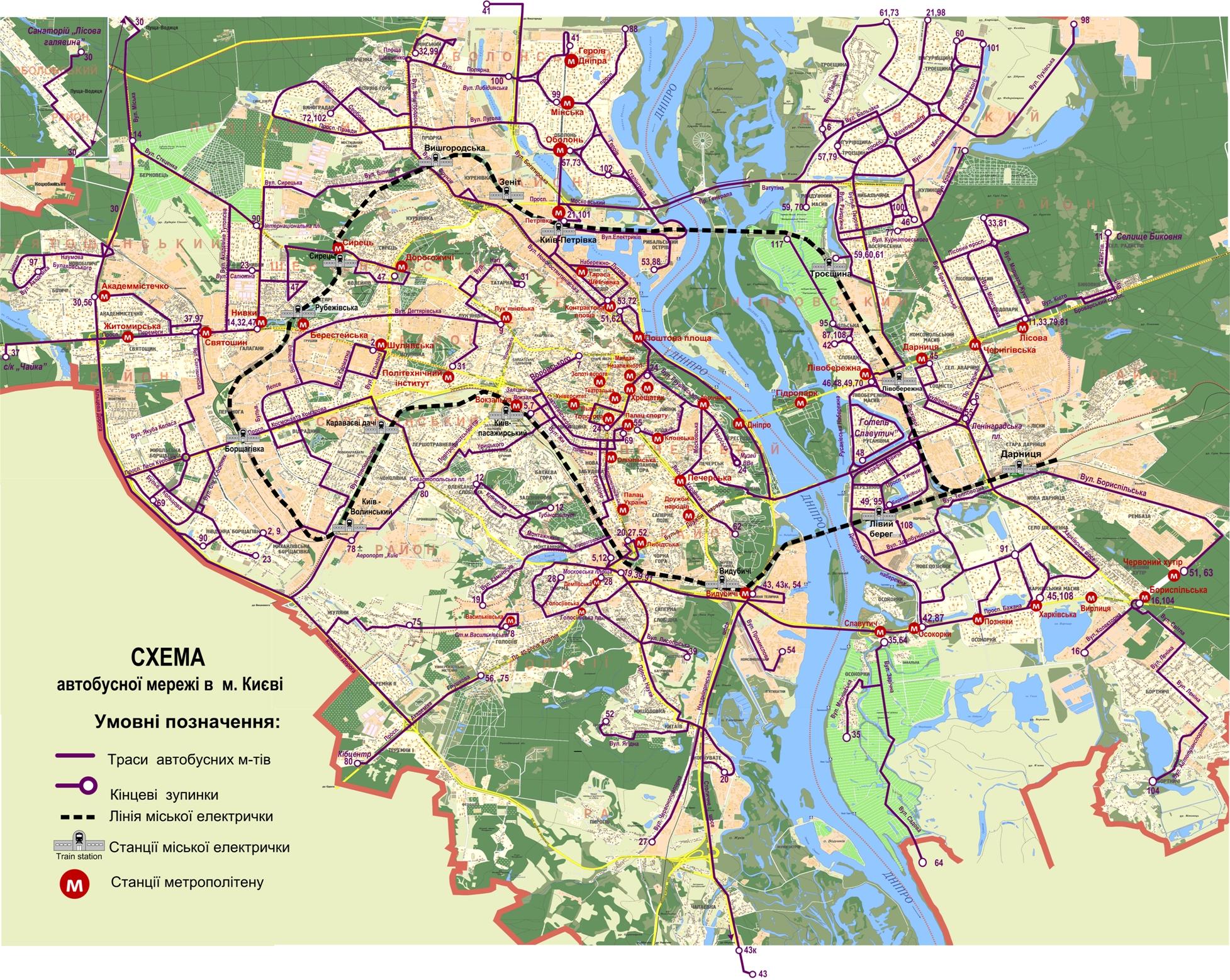 План - схема маршрутов автобусов Киева 3