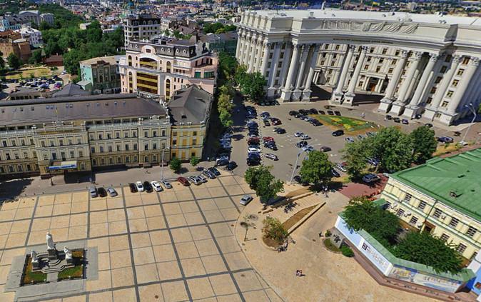 Здание Министерства иностранных дел, бывшего Первого Реального училища и памятник княгине Ольге Киев