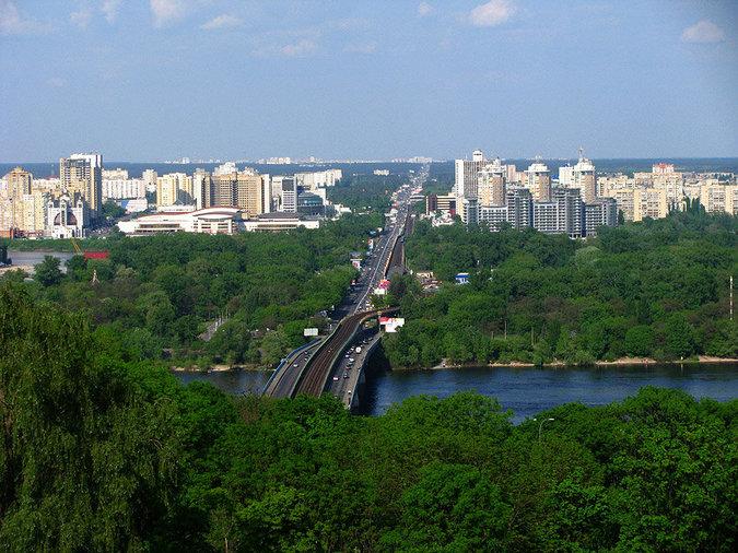 Киев сегодня панорама левого берега, мост Метро, Гидропарк
